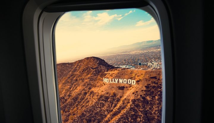 Hollywood sign out of the plane window